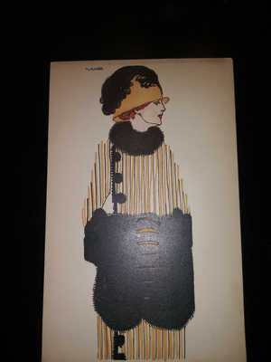 Original Postcard Wiener Werkstatte 1910 Fashion Lady Card #616
