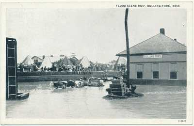 Vintage Postcard Rolling Fork Mississippi Train Depot Flood Scene 1927