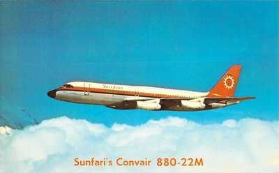 Sunfari's CONVAIR 880-22M - AIRCRAFT AIRPLANE Advertising 5.5x8.75 postcard