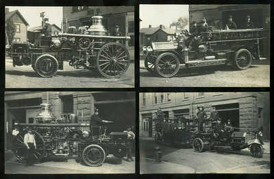 4 RPPC's Fire Engines / Firetrucks at Station No. 3 in YOUNGSTOWN (Ohio?) 1908