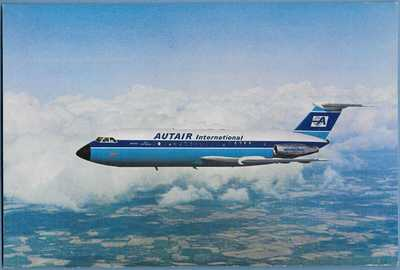 AIRLINE MEMORABILIA / POSTCARD / AUTAIR INTERNATIONAL AIRWAYS / BAC 1-11-400
