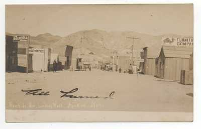 Rare 1908 RPPC Postcard of Rawhide Nevada Street Scene with Signs