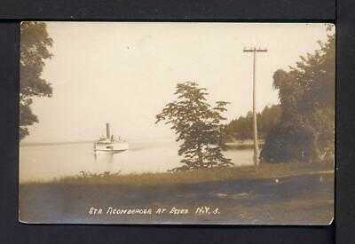 1915 STEAMER TICONDEROGA AT ESSEX New York Postcard RPPC Crater Club