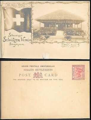 Singapore Picture Postal Stationery Card 1902 unused. Swiss Shooting Club