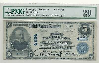$5 The First N.B. of Portage Wisconsin