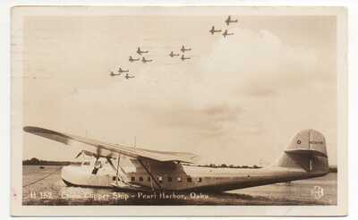 1936 RPPC Postcard of China Clipper at Pearl Harbor Mailed at Wake Island Stamp