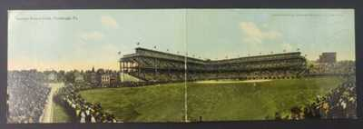 Two panel postcard Interior Forbes Field Pittsburgh PA Baseball stadium postcard
