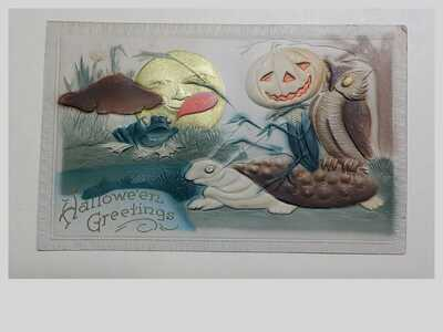 Old Vintage Original Posted 1911 Rare Halloween Greetings Postcard Embossed
