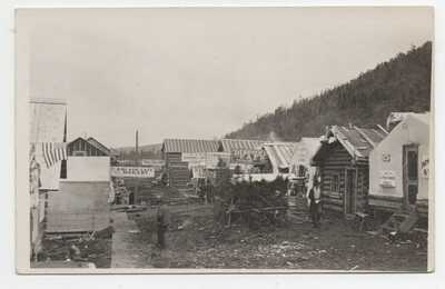 Rare 1908 RPPC Postcard of Street Scene w Tents & Cabins at Otter Creek Alaska