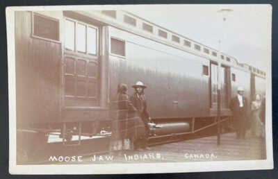 Mint USA Real Picture Postcard Native American Moose Jaw Indians Canada Train