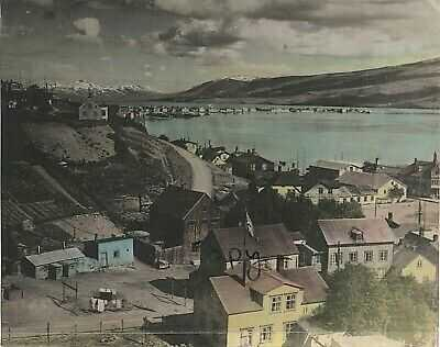 WW2 hand tinted panoramic view of a staging point in Iceland for arctic Convoys