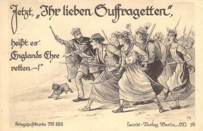 Early 1900s Suffrage Berlin LOVING SUFFRAGETTES Women SPears Mob postcard