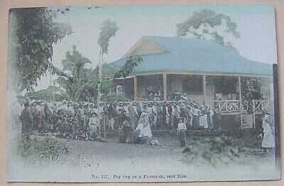 1910 Pay Day on a Plantation TH Hawaii Hilo Drug Co. #137 Hand Tinted in Japan